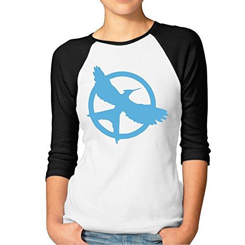 Women's The Hunger Games Saga Mockingjay Logo 3/4 Sleeve 100% Cotton Baseball Tee Baseball Jerseys