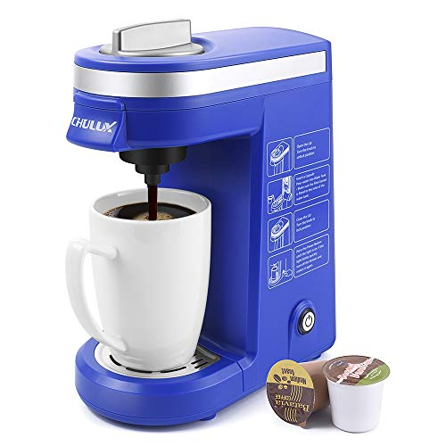 (CHULUX Coffee Maker Machine,Single Cup Pod Coffee Brewer with Quick Brew Technology,Blue)