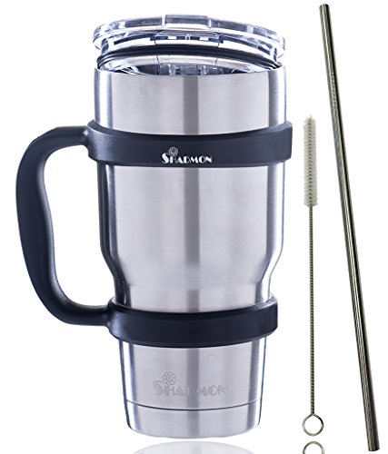 Premium 30 Oz Stainless Steel Insulated Tumbler Set By Shadmon Double Wall Vacuum Travel Cup Includes Spill Proof Lid a Straw and Removable Mug Grip Handle Ideal For All Hot and Cold Drinks.