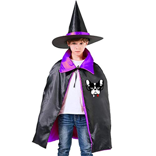 Halloween Children Costume Boston Terrier Face Wizard Witch Cloak Cape Robe And Hat -