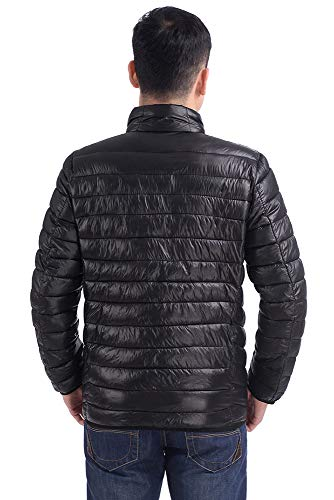 Cotton Winter Warm Long Down Lightweight Down Black Jacket KINDOYO Jacket Men's Zipper Sleeve qfUO1vw