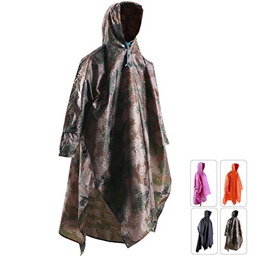 Raincoat Mens Camouflage (REDCAMP Waterproof Rain Poncho with Hood and Arms for Camping Hiking, 3 in 1 Multifunctional Lightweight Reusable Raincoat Poncho for Men Women Adults Camouflage)