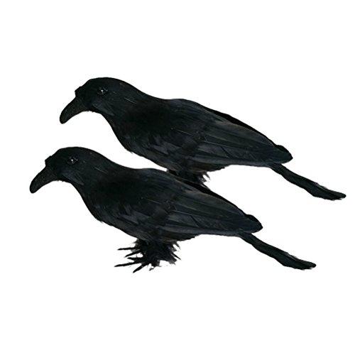 Yardwe Halloween Crows Fairy Garden Crows Black Crows Halloween Decoration Birds 2PCS (Black) -