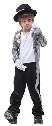[Child Sequin Jazz Dancer Costumes Role Play Boys Halloween Cosplay Clothes (Medium)] (Jazz Dancer Halloween Costume)