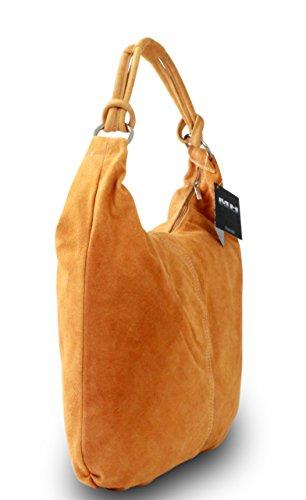 Made in Italy Damen Schultertasche Shopper Beuteltasche Echt Leder Wildleder Orange
