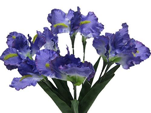 Iris Bouquet - Phoenix Silk Iris Bush Satin 8 Artificial Flowers 22