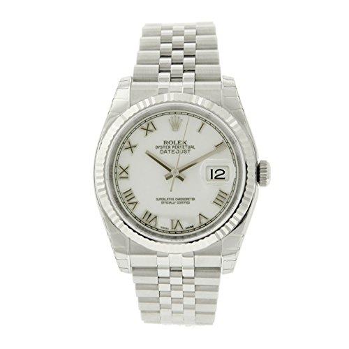 Rolex Men's-Datejust Stainless Steel White Dial 18k White Gold Fluted Bezel-Jubilee Band-36mm-116234
