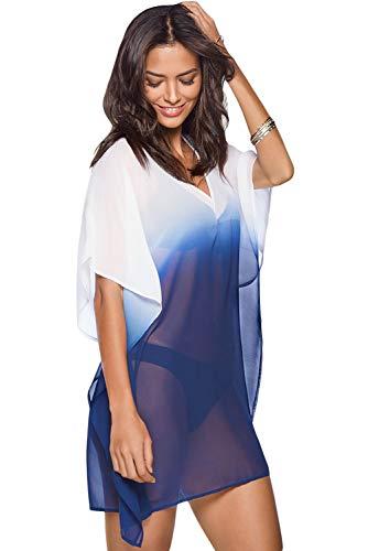 - BINLIANG Women Sheer Ombre Kimono Sleeve Beach Swim Coverup Dress Bikini Swimwear Cover up Short Kaftan Long T-Shirt (one-Size, Ombre Blue)
