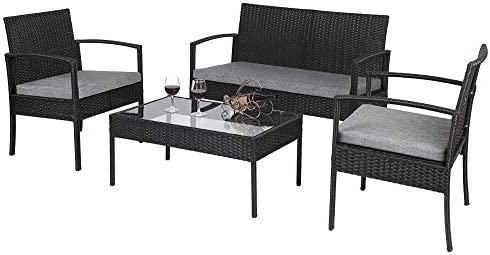 4 Piece Outdoor Furniture Set Patio Garden Pool Lawn Rattan Wicker Loveseat Sofa Cushioned Seat Glass Top Coffee Table Modern Wicker Rattan Conversation Set