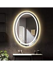 LUVODI Owalne lustro łazienkowe z oświetleniem LED, lustro ścienne, 50 x 70 cm, z funkcją zapobiegającą parowaniu, energooszczędne, IP44