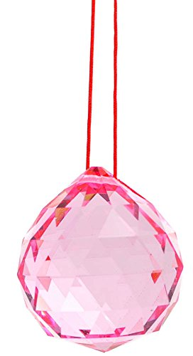 M.V. Trading 40mm Crystal Ball Prisms Pendant Feng Shui Suncatcher Decorating Hanging Faceted Prism Balls, - Necklace White Kunzite