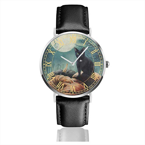 Halloween Black Cat On Pumpkin Full Moon Big Face Watch for Men, Water Resistance Wrist Watches in Leather Band Stainless Steel Quartz Watch for Women Girls Boys 38mm/1.5