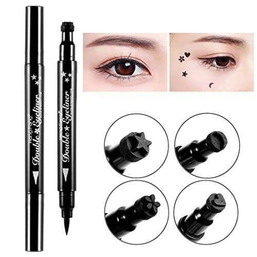Kikole 1PC Black Waterproof Eye Liner Pen Double Headed Eyeliner Stamp Long Lasting Eyeliner Pencil Eye Makeup Stamp