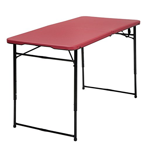Cosco Products Center Fold Tailgate Table with Carrying Handle, Red Table Top & Black Frame, 4'