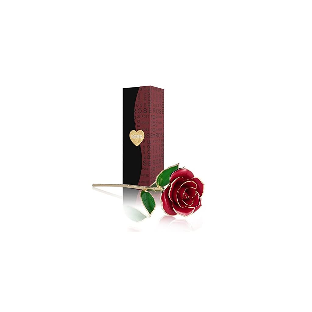 Allove-Gold-Rose-24K-Artificial-Flowers-Dipped-Rose-Gold-Plated-Rose-with-Transparent-Stand-for-Lover-Mother-Girlfriend-Forever-Gold-Dipped-Rose-Red