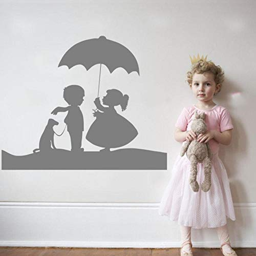 qzheng Cute Little Girl and Boy with Dog and Umbrella Cute Wall Applique Family Children