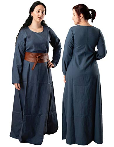 Lena Medieval Viking Renaissance Cotton Women Underdress - Made in Turkey, XXL-Blue