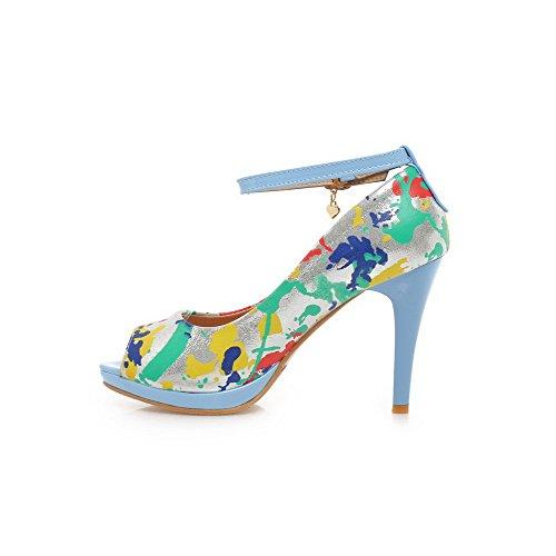 AgooLar Mujeres Peep Hebilla Cuero Colores Surtidos Tacón de aguja Sandalia Azul
