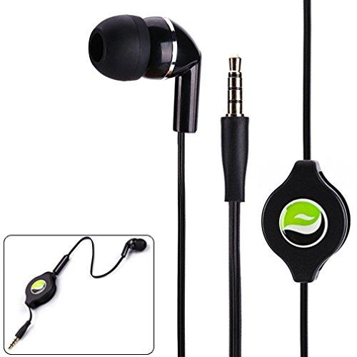 Premium Black Retractable Mono Headset Single Earbud Earphone Mic for HTC DEsire 510 610 612 626 626S EYE - LG Optimus F6, F7, F60, F3Q, Tribute 2, G Flex 2, K7 - Blackberry Priv, Z10, Z30, Q10 (Htc Desire 612 Gel Phone Cases)
