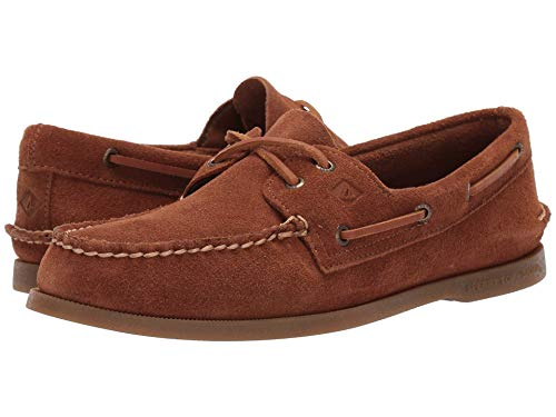 Shoes Sneakers Suede Tan - SPERRY A/O 2- Eye Suede DK TAN, Size 10.5