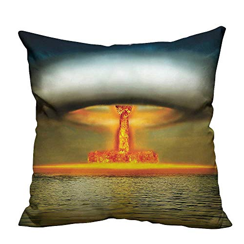 Atomic Betty Christmas (YouXianHome Decorative Throw Pillow Case Bomb in Ocean Mushroom Cloud Atomic Energy Warfare Smoke in Sky Yellow Grey Ideal Decoration(Double-Sided Printing) 20x20)