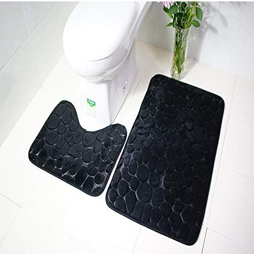 3ピースバスルームラグセットバスマット浴槽、シャワー、バスルーム、トイレアクセサリー用の高級ソフトWC蓋カバー,Black