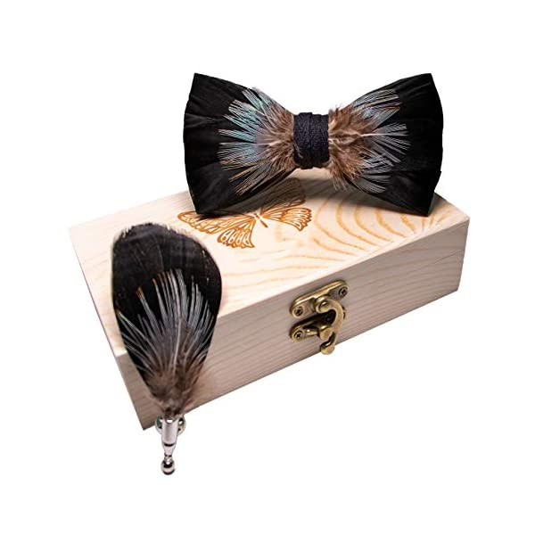 RBOCOTT Handmade Feather Pre-tied Bow tie and Brooch Sets for Men