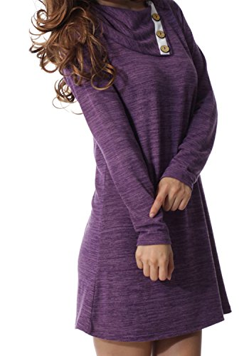 - Womens Long Sleeve Button Deco Neck Loose Casual Short T Shirt Dress Purple M