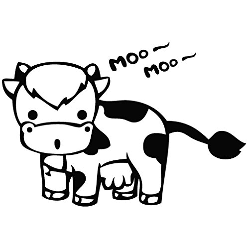 Removable Car Stickers (Cow Moo - Cartoon Decal Vinyl Removable Decorative Sticker for Wall, Car, Ipad, Macbook, Laptop, Bike, Helmet, Small Appliances, Music Instruments, Motorcycle,)