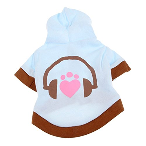 Haogo Pet Puppy Sweatshirt Clothes Warm Fleece Earphone Printed Hooded Sweater for Small Dog Pet Blue L