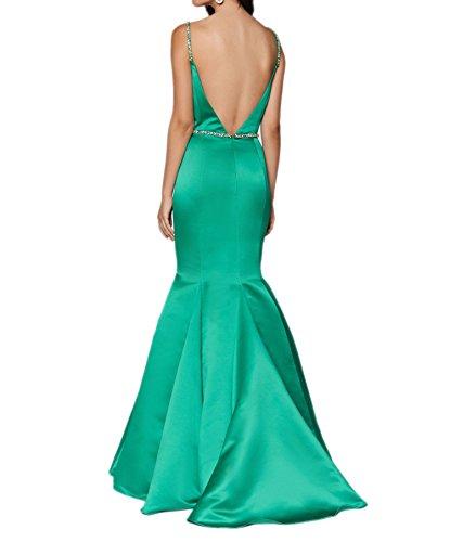 Brautmutterkleider Etuikleider Royal Blau Festlichkleider Zwei Charmant Lang Traeger Abendkleider Damen Satin Blau RqTn4Owgx