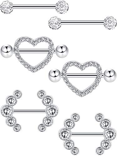 (Jovitec 6 Pieces 14 G Nipple Rings Barbell Heart Curved Shape Rings Stainless Steel Tongue Nipple Rings Jewelry Body Piercing (Steel Color))