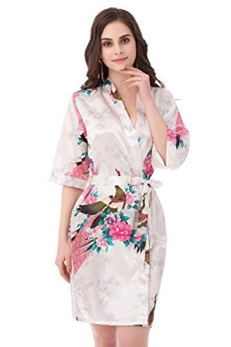 gusuqing Women s Printing Peacock Kimono Robe Short Sleeve Silk Bridal Robe  White L 1a446a552