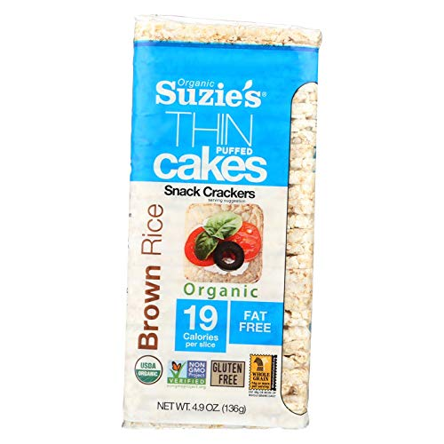 (Suzie's Whole Grain Thin Cakes, Puffed Brown Rice Crackers, 4.9-Ounce Bags (136g) (Pack of 12))