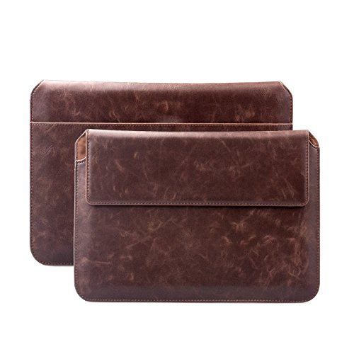 iCues Case for Apple iPad Air, iPad 2017 5th, 2018 6th, iPad Pro 9.7 Sleeve Bag Compatible with Samsung Galaxy Tab S3 S2 for 8.0 to 10.1 inch Tablet Buffalo Coffee Wallet Leather Envelope