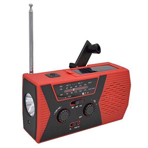 Gyswshh 3-in-1 Solar Crank AM FM Radio, Emergency Flashlight Power Bank USB Read LED Lamp Red