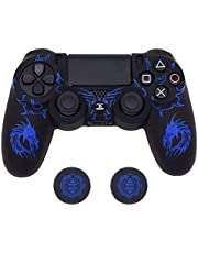PS4 Controller Skin, BRHE DualShock 4 Grip Anti-Slip Silicone Cover Protector Case for Sony Playstation 4/PS4 Slim/PS4 Pro Wireless/Wired Gamepad Controller with 2 Thumb Grips (Blue)