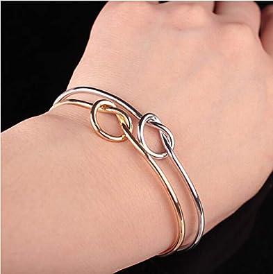 DaoAG-Accessories Love Knot Bracelets for Couples Open Cuff Bracelets Simple Adjustable Stretch Bracelet Vintage Bangle Braceles for Women /& Girls
