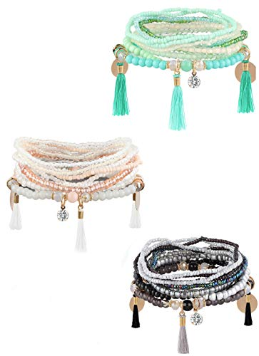 Milacolato 3 Sets Bohemian Beaded Bracelets for Women Girls Multilayer Stretch Stackable Bracelet Black