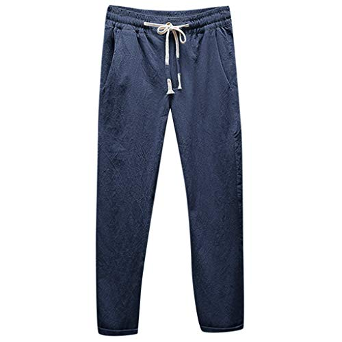 iHHAPY Straight Trousers Men's Casual Trousers Linen Breathable Loose Long Pants Ramie Small Feet Pants Strechy Waist Navy ()