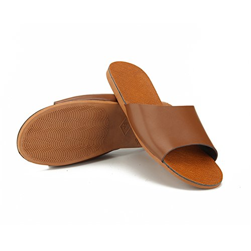 Men Leather M for Autumn Anti Summer Slippers Floor Smelly TELLW Corium Spring Cowhide Wooden Women Brun x7Ww6