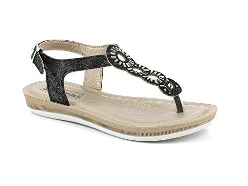 AARZ LONDON Women Ladies Diamante Open Toe Everyday Summer Casual Lightweight Comfort Flat Sandals Shoes Size Black 9uumbFD