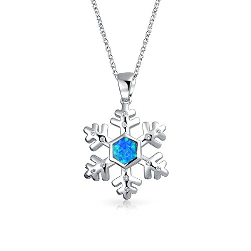 - Synthetic Blue Opal Snowflake Pendant Rhodium Plated Necklace 18 Inches