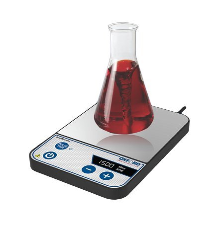Oxford Benchmate MS1 800 ml Digital Slim and Compact Magnetic Stirrer, 15 - 1500 RPM, with Pulse Mode and Reverse Rotation, Silver, Stainless Steel