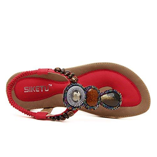 Dqq Femmes Bohème Gemme Thong Sandale Rouge