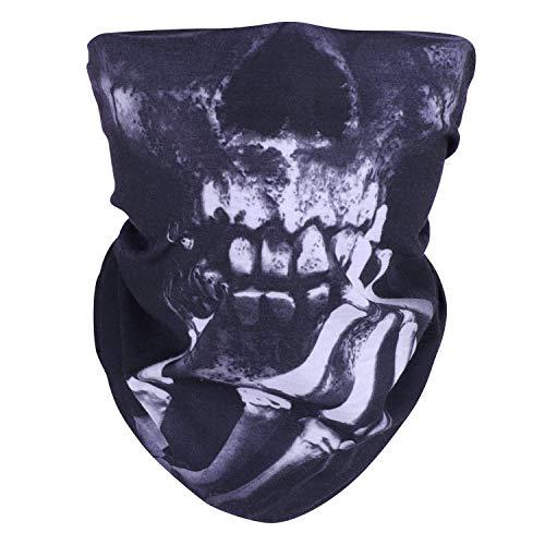 WOVTE 2 Pack Seamless Skull Face Tube Mask Motorcycle Face Mask Black