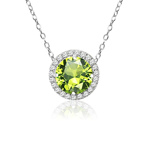 Sterling Silver Simulated Peridot and Cubic Zirconia Round Halo Necklace