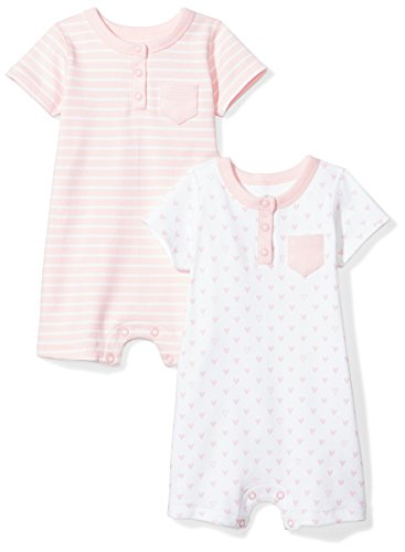Moon and Back Baby Set of 2 Organic Rompers, Pink Blush, 12 -