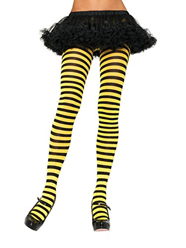 Bee Tights - Leg Avenue Women's Nylon Striped Tights, Black/Yellow, One Size