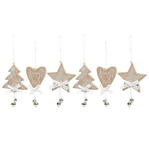 Juvale 6-Pack Christmas Tree Decorations - Miniature Wooden Christmas Decoration Ornaments, Festive Embellishments, Heart, Tree (Festive Hearts Ornament)